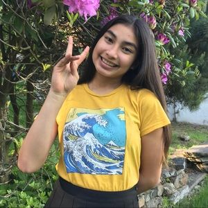 PacSun Tops - Yellow Wave Graphic T-Shirt